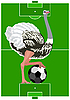 Vector clipart: Ostrich with soccer ball