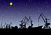 Векторный клипарт: Порт ночью