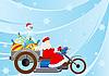 Векторный клипарт: Санта на мотоцикле
