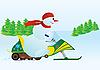Векторный клипарт: Снеговик и снегоходах