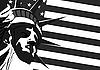 Vektor Cliparts: Freiheitsstatue und US-Flagge