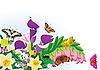 Векторный клипарт: Летние цветы и бабочки