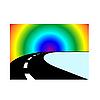 Векторный клипарт: Дорога и радуга