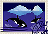 Vector clipart: Postage stamp with killer whales