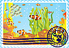 Vector clipart: Postage stamp with the underwater world