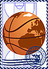Vector clipart: Postage stamp Basketball