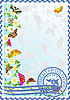 Vector clipart: Postage stamp Butterflies and flowers