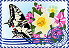 Vector clipart: Postage stamp Butterfly and flowers