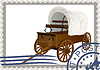 Vector clipart: Postage stamp Covered wagon