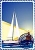 Векторный клипарт: Почтовая марка - яхта в море и маяк