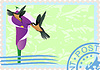 Vector clipart: Postage stamps with hummingbirds