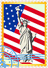 Vector clipart: Postage stamp with the flag and the Statue of Liberty