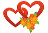 Vector clipart: Two hearts and roses
