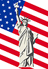 Vector clipart: U S Flag and the Statue of Liberty