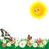 Векторный клипарт: Полевые цветы и бабочки
