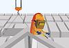 Векторный клипарт: Сварщик на строительной площадке