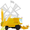 Vector clipart: Spikes of wheat and combine harvester