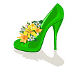 Vector clipart: Flowers in womens shoe
