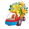 Векторный клипарт: Автомобиль с цветами