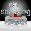Векторный клипарт: Череп и курительную трубку
