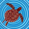 Vector clipart: Turtle in water