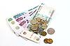 러시아어 지폐와 동전 | Stock Foto