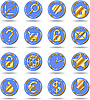 Vector clipart: Gold blue icons