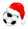 Vector clipart: Christmas cap over soccer ball