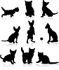 Vector clipart: silhouettes of cats