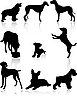 Vector clipart: Dog silhouettes