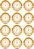 Vector clipart: Golden clocks