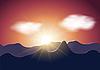 Vector clipart: Sunrise mountains