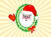 Vector clipart: Santa Claus in wreath and yellow rays