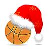Vector clipart: Santa cap over basketball