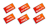 Vector clipart: Six red business promo stickers