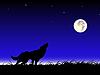 Векторный клипарт: Волк и луна