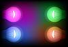Vier neon Glühbirne