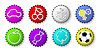 Vector clipart: Color bottle caps with figures