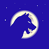 Vector clipart: Wolf and moon in the night