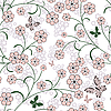 Vector clipart: Repeating floral pattern with butterflies