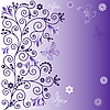 Vector clipart: Gentle violet flower background with butterflies