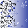 Vector clipart: Gentle blue flower background with butterflies