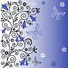 Gentle blue flower background with butterflies | Stock Vector Graphics