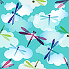 Vector clipart: seamless pattern with dragonflies