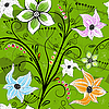 Vector clipart: Seamless green floral pattern