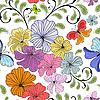 White seamless floral pattern