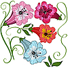 Vektor Cliparts: Set Blumen
