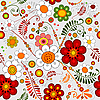 Vector clipart: Grey seamless floral pattern