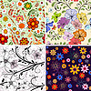 Vector clipart: Set seamless floral pattern