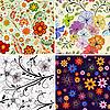 Vektor Cliparts: Set nahtlose Blumenmuster